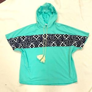 Turquoise short sleeve pullover hoodie